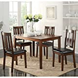 ACME Furniture 72505 5 Piece Flihvine Dining Set, Black & Walnut
