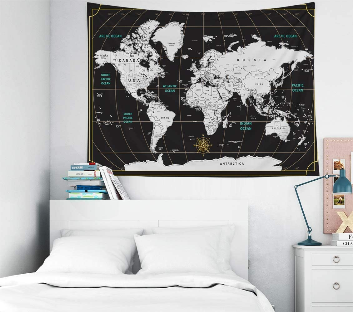Capsceoll World Map Tapestry,40X30 Inches Colorful Tapestry Scratch Travel Map World Black Background Home Decorations for Living Room Bedroom Dorm Decor