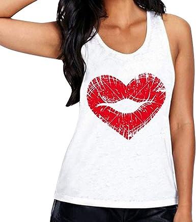 MEIbax Camiseta sin mangas mujer Chaleco Estampado Mujer Estampado de Labios en Forma de corazón Verano Blusa Mujer Tops Mujer Verano Camisetas Mujer Camisetas Mujer Camiseta Mujer: Amazon.es: Ropa y accesorios