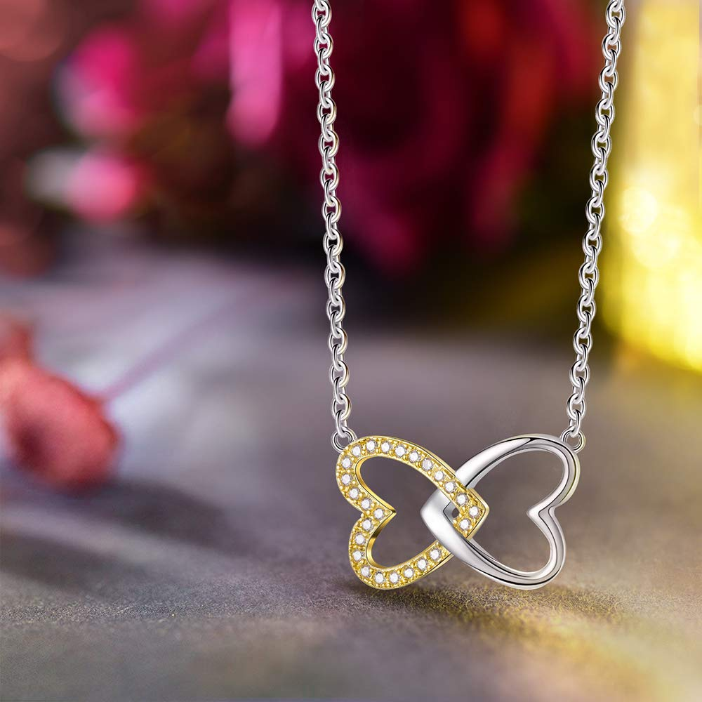 Gold Plated 925 Sterling Silver Necklace Pendant 5A Cubic Zirconia Double Love Heart Pendant