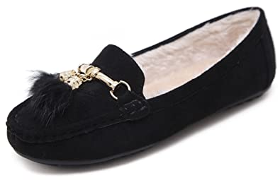 e35e90964bd85 Women's Fall Winter Plush Suede Moccasin Flat Shoes with Gold Tassels  Pendant, Ballet Flats Slip