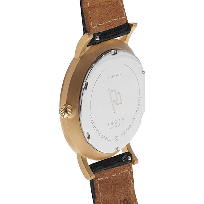 Amazon.com: Shore Projects St. Ives Watch with Classic Strap | Gold / Charcoal / Black: Watches