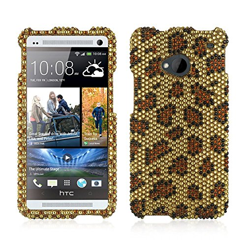Dream Wireless Full Diamond Case for HTC One M7 - Retail Packaging - Gold Leopard