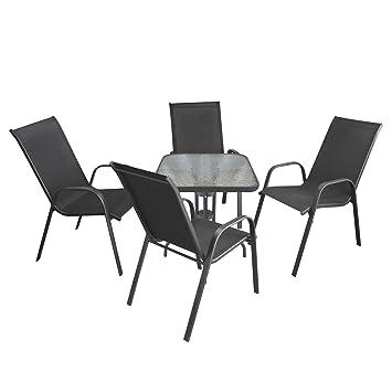 Amazon.de: 5tlg. Balkonmöbel Set Bistrotisch 60x60cm mit geriffelter ...