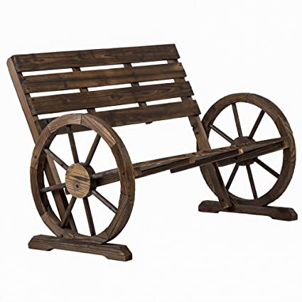 PayLessHere Patio Garden Wooden Wagon Wheel Bench Rustic Wood Design  Outdoor Furniture