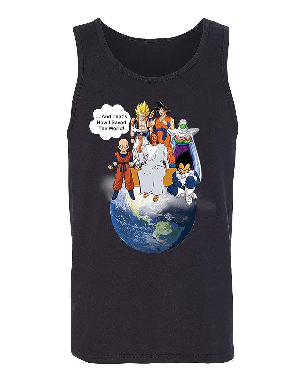 Jesus And Dragon Ball Z Goku Saiyan Thats How I Saved The World Earth Funny Tank Top