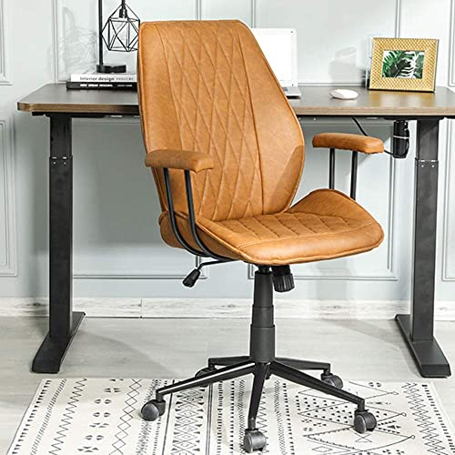 Home Office Chair Leather Computer Chair Ergonomic Task Chair Mid Back Swivel Home Office Chair Adjustable Racing Chair Armrest