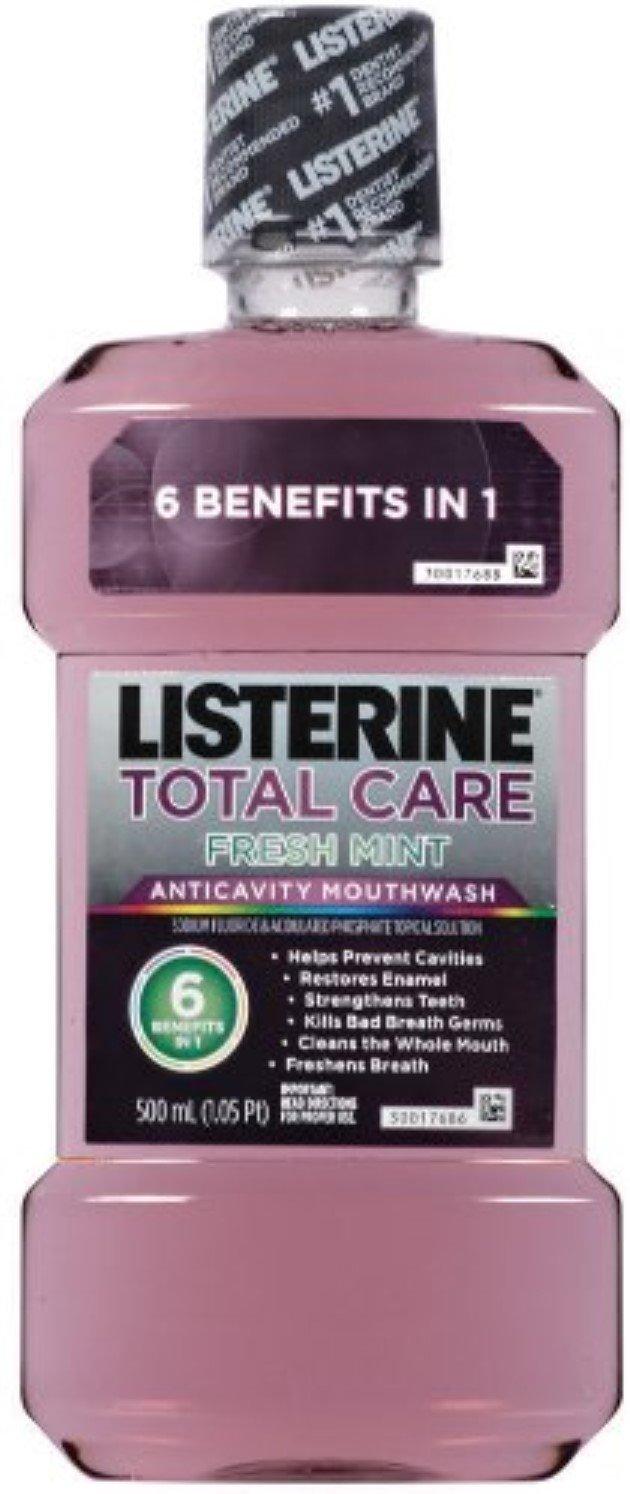 Listerine Total Care Anticavity Mouthwash Fresh Mint 33.8 oz (9 Pack)