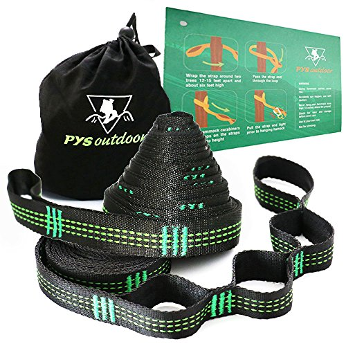 PYS outdoor XL Hammock Straps Heavy Duty 20FT & 40 Loops&100% No Stretch (Set of 2) Fits All