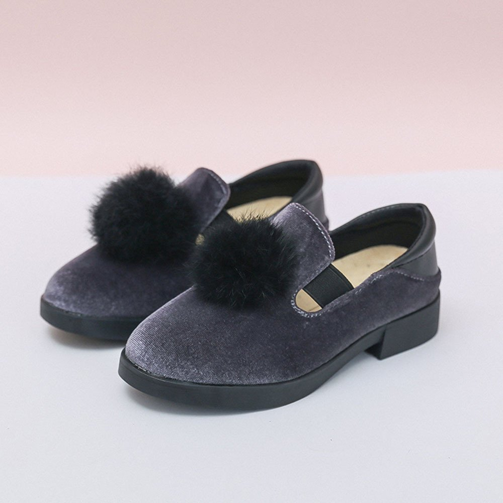 Lurryly Children Hairy Ball Sandals Sneaker Toddler Solid Baby Girls Single Shoes 3-9 T