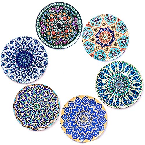 BOHORIA Premium Design Coasters (Set of 6) - Decorative Coasters for Glass, Cups, Vases, Candles on Dining Table made of Wood, Glass or Stone (Round | 9cm) (Boho Edition)