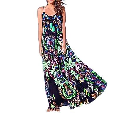 Kleider Damen Lang Sommerkleid Halfter äRmelloser Drucken Kleider Elegant  Strandkleider Freizeitkleid Locker Minikleid (Dunkelblau, e186541e97