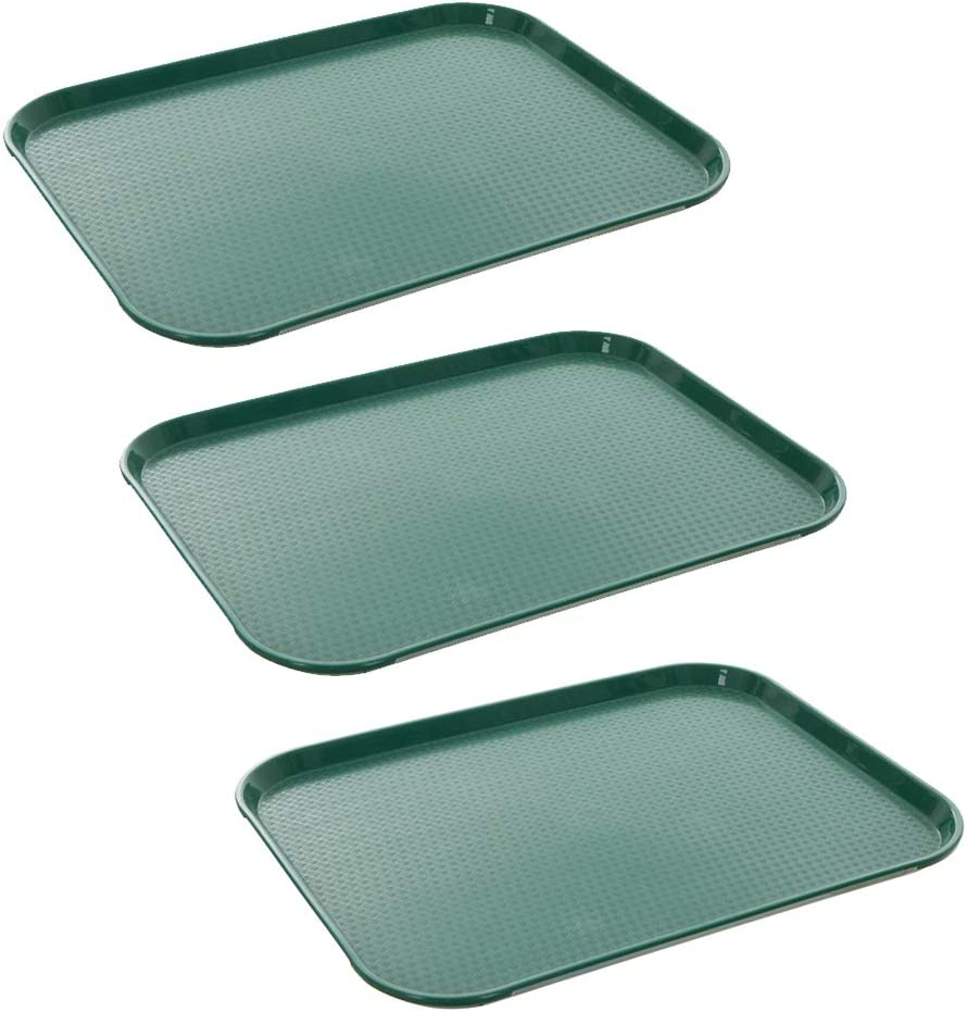 Tezzorio (3 Pack) Fast Food Tray 12 x 16 Green Rectangular Polypropylene Serving Tray for Cafeteria, Diner, Restaurant, Food Courts
