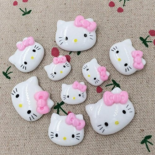 - 50pcs Kitty Cat Kitten Bow Flat Back Cabochons Meow Animals Decoden Flat Back Buttons DP148 (Mixed Size)