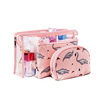 db0bb3cecfcc Amazon.com   Flamingo Cosmetic Pouch Large Transparent Waterproof Travel  Toiletry Bags Portable Makeup Clutch Organizer for Women Girls with Zipper  by ...