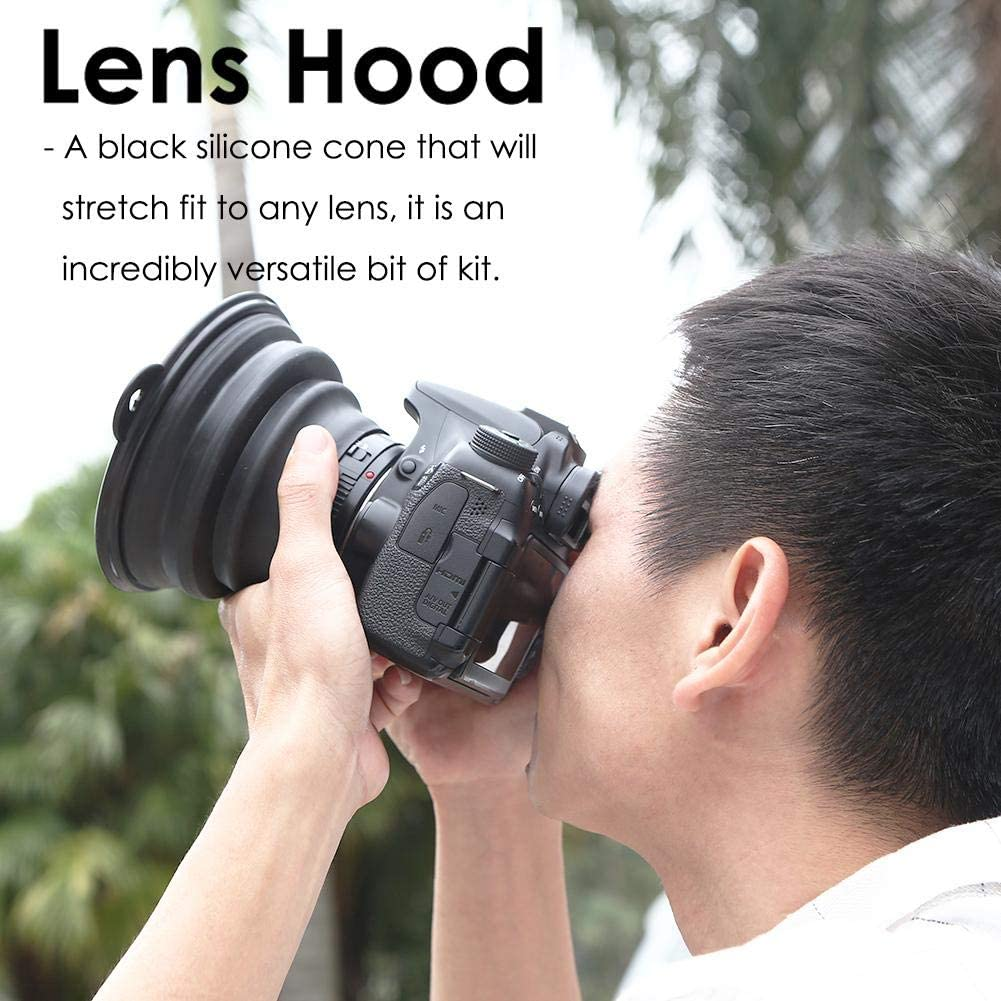 1pc-L Suruc Lens Hood,Anti-Reflective Ultimate Camera Lens Reflection-Free Collapsible Silicone Anti-Glass Photos Lens Hood for Camera Mobile Phone