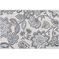Emmalyn Transitional Floral Cream Scatter Mat Rug, 2 x 3