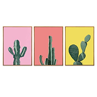 Hepix Canvas Wall Art Cactus Print Boho Wall Decor Wooden Framed Tropical Plants Wall Pictures for Bathroom Bedroom Minimalist Modern Home Office Decorations 3PCSX13x17inch