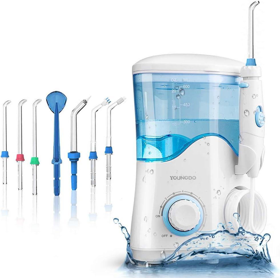 YOUNGDO Irrigador Bucal 600 ML, Irrigador Dental Professional con 10 Ajustes de Presión del Agua y 7 Boquillas Multifuncionales, para Cuidado y Limpieza Dental de Toda La Familia Aprobado por la FDA