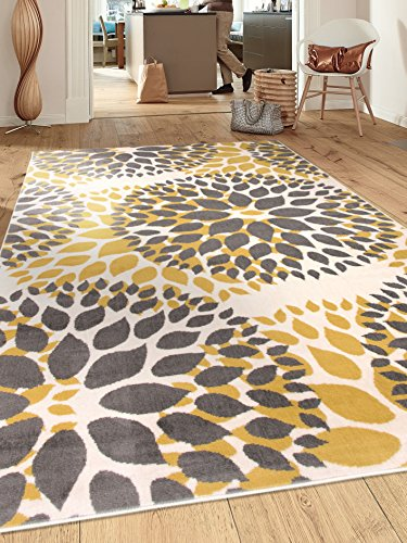 Modern Floral Circles Design Area Rugs 5' X 7' Yellow (And Area 8x10 Rug Yellow Grey)