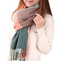 Mocasor Plaid Blanket Scarves for Women, Ladies Fashion Winter Warm Tartan d Long Checked Shawls and Wraps