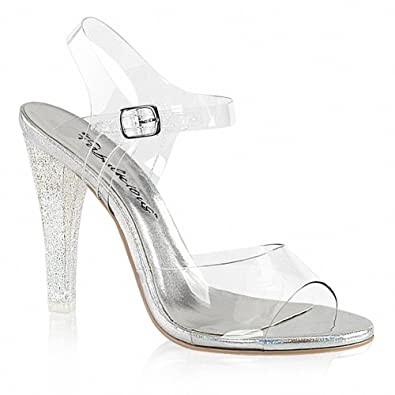 f500211c22e Fabulicious CLEARLY-408MG Women 4 1 2 quot  Heel Ankle Strap Sandal