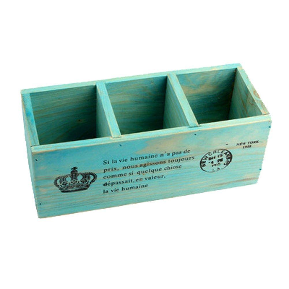 Amazon.com: 3 Compartment Vintage Wood Desktop Office Supply Caddy ...