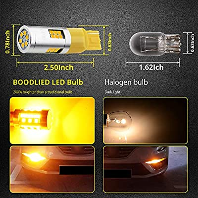 BOODLIED 20Watts No Hyper Flash 7440 T20 W21W LED Bulbs High Power 3030 30-SMD Chips LED Bulb For Backup Reverse Lights,Turn Signal Lights(No Hyper Flash).Amber/Yellow,2-Pack.: Automotive