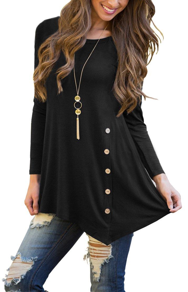 Jouica Women's Casual Scoop Neck Long Sleeve Solid Asymmetrical Winter T-Shirt Blouse Top Black L