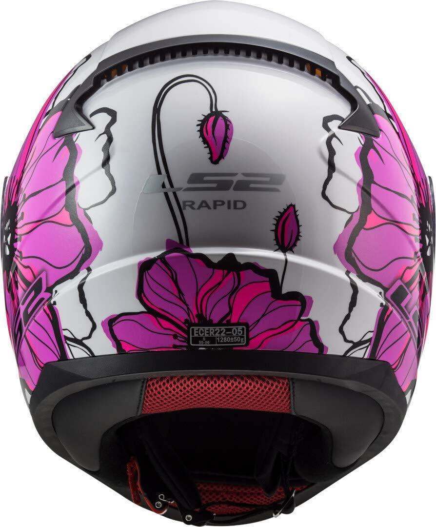 S White//Pink LS2 Rapid Poppies Motorcycle Helmet Pink