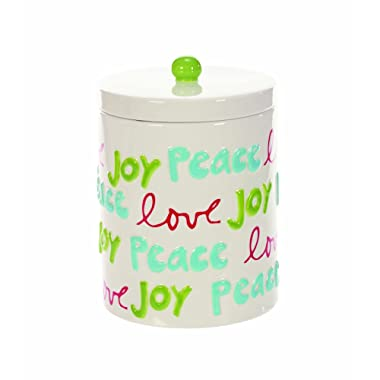 White Joy Peace Love 5 x 6 Inch Ceramic Christmas Cookie Jar Container