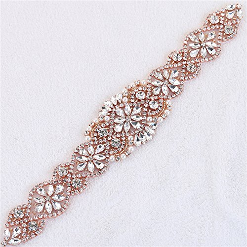 Rose Gold Bridal Sash Belt Applique Rhinestone Applique Beaded Applique Crystal Sparkle Diamante Embellishment Sew on Sparkly Decor for Wedding Dress Bridesmaid Gown Garment Fashion DIY -12-Inches by FANGZHIDI