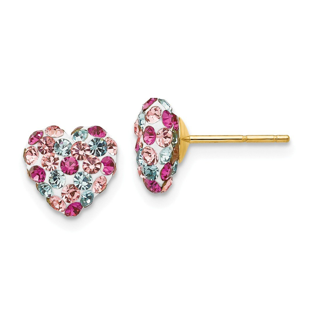 ICE CARATS 14kt Yellow Gold Multi Colored Crystal 8mm Heart Post Stud Ball Button Earrings Love Fine Jewelry Ideal Gifts For Women Gift Set From Heart