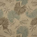 """K0127A Tan, Brown And Teal Floral Leaves Woven Solution Dyed Indoor Outdoor Upholstery Fabric By The Meter 