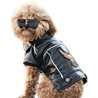 NACOCO Pu Leather Motorcycle Jacket, Dog Puppy Pet Clothes Leather Jacket, Watherproof(S)