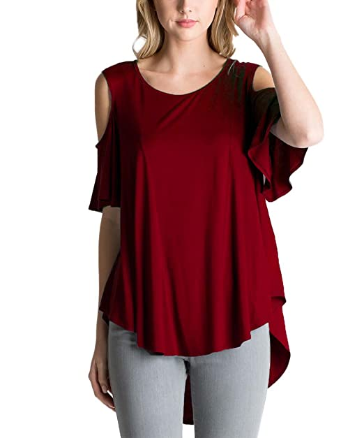 8d69a73865f9b2 DREAGAL Womens Solid Basic Flowy Tops Summer Flutter Sleeve Tunic Burgundy  Small