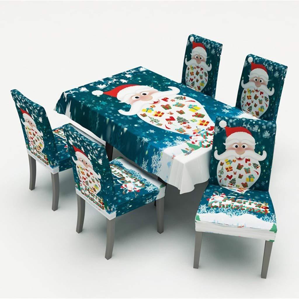 TM Minshao Tovaglia Natalizia//coprisedia Stampa Digitale Decorazione tavola di Natale Tovaglia in Tela Cerata plastificata Idrorepellente Rettangolare
