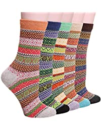 5 Pack Womens Thick Warm Knit Vintage Stripe Comfort Cotton Casual Wool Crew Winter Socks Gift