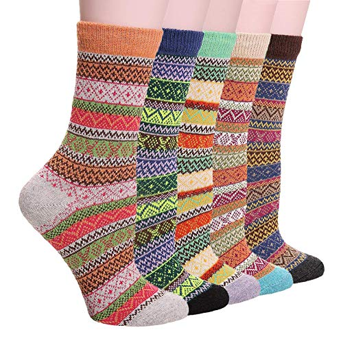 (Qiangyu 5 Pack Womens Vintage Stripe Thick Warm Comfort Cotton Casual Wool Winter Socks)