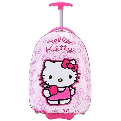 Gucili Maleta para Niños, Anime Cartoon Pink Hello Kitty Equipaje para Niños, Maletas para