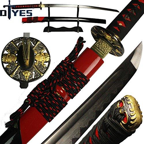 - DTYES Japanese Samurai Katana Sword/Japanese Sword Customization, (1060 Carbon Steel Blade-Classic Golden Tsuba) ((Original Katana) Damascus Steel Clay Tempered Blade-Skull Tsuba 1)
