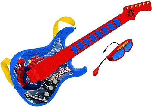 Spiderman-Guitarra electrónica con Gafas y micrófono Incorporado ...