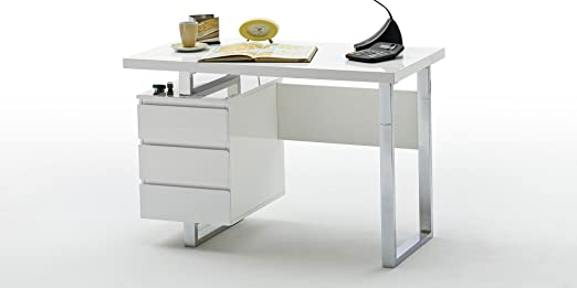 Sydney escritorio cromo mesa de oficina PC muebles mesa blanco ...