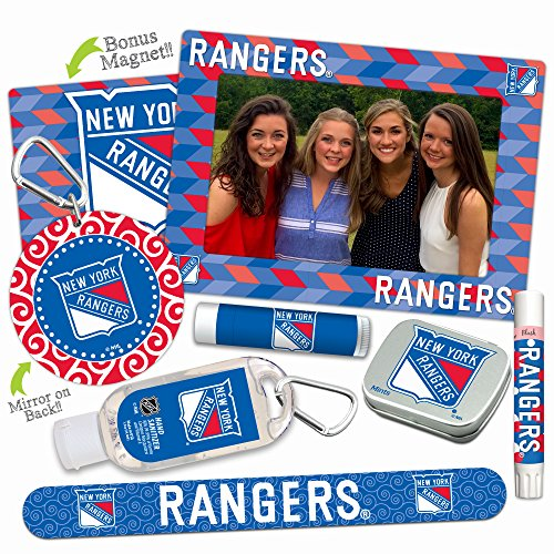 New York Rangers Deluxe Variety Set with Nail File, Mint Tin, Mini Mirror, Magnet Frame, Lip Shimmer, Lip Balm, Sanitizer. NHL gifts for women Mother's Day, Stocking Stuffers ()