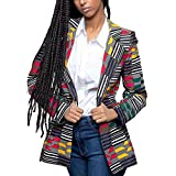 Lrud Women's Casual Long Sleeve Dashiki African Floral Print Blazer Jacket Coat Suits Yellow XL