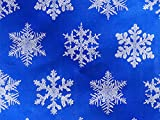 Pack of 1, Blue Snowflake 26'' x 417' Half Ream Gift Wrap (Foil) for Holiday, Party, Kids' Birthday, Wedding & Special Occasion Packaging