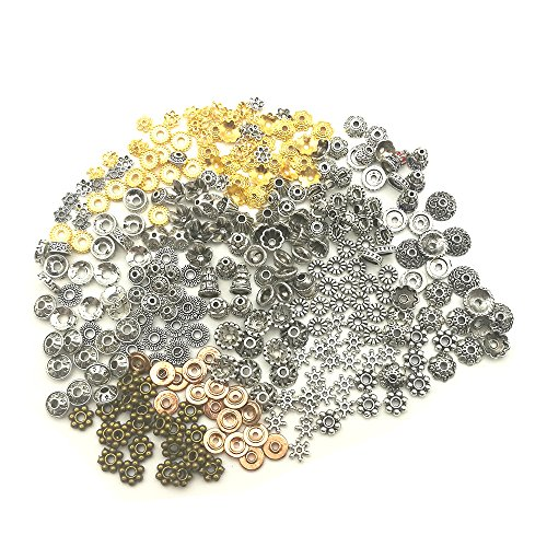 HanYan Bead Spacers Metal Spacers Tibetan Silver,Gold Mixed Charms 80 grams 6-8 mm 200+ Pcs Mixed Bead Spacers for Jewelry Making (Metal Bead Earrings)