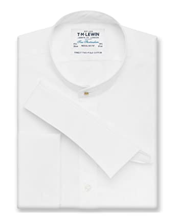 4bd2746d T.M.Lewin Men's Shirt Tunic Collar Poplin Weave Regular Fit Double Cuff -  White: Amazon.co.uk: Clothing