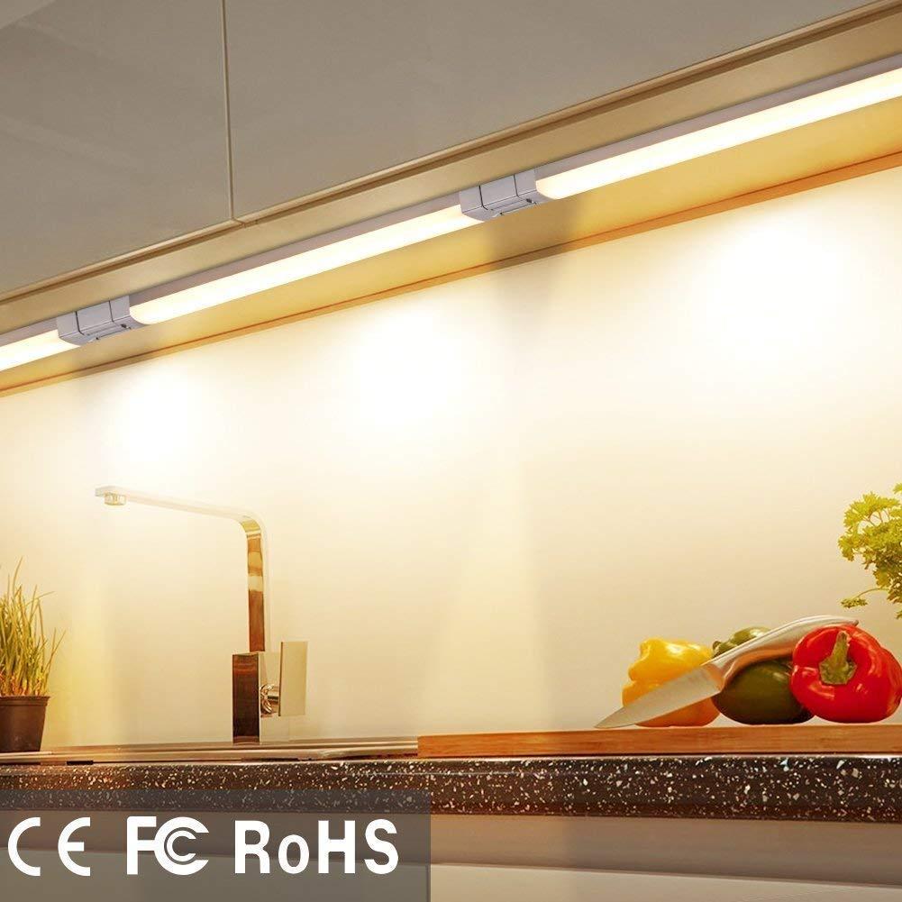 Attics Kitchen LED Cupboard Lighting 100V DC 12V Plug in Under Counter LED Lights for Closet 6000k Daylight Wardrobe 240V Under Cabinet Lights Hallway 3 Pack Touch-Less Dimmable Control
