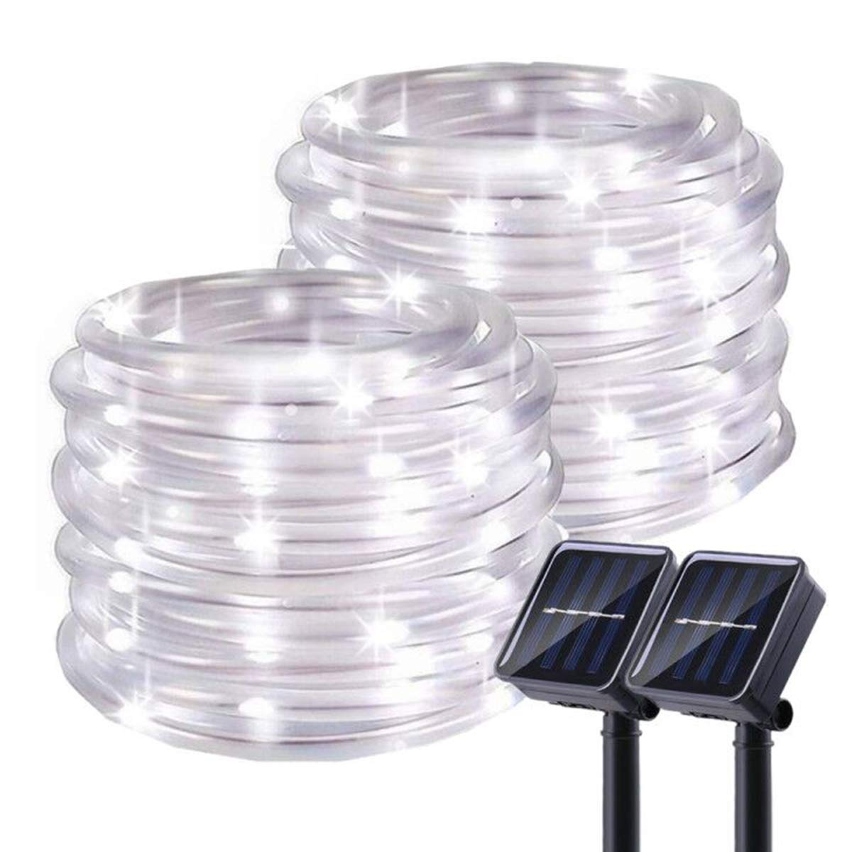 Outdoor Solar String Lights - 2 Pack Solar Rope Lights 100 LED